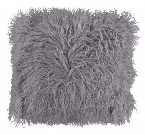 LUXURY FURRY MONGOLIAN SHAGGY FUR SUPER SOFT CUSHION COVER SILVER COLOUR